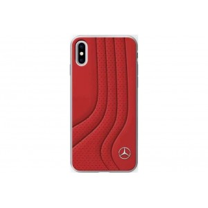 Mercedes Benz Bow I Echt Leder Hülle / Hardcover für iPhone XS / X Rot