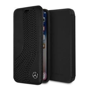 Mercedes Benz Bow Leder Book Cover / Tasche für iPhone X / Xs Schwarz