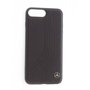 Mercedes Benz NEW BOW II Echtleder Hülle / Cover iPhone 8 Plus / 7 Plus Schwarz