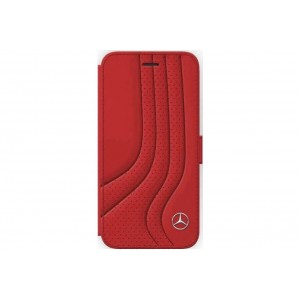 Mercedes Benz BOW Echtleder Tasche / Book Case iPhone 8 Plus / 7 Plus Rot