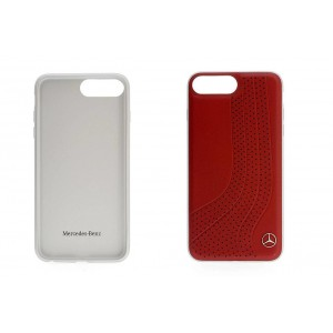 Mercedes Benz NEW BOW II Echtleder Hülle / Cover iPhone 8 Plus / 7 Plus Rot