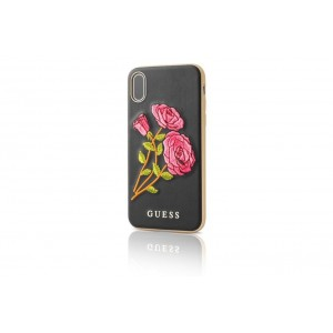 Guess Flower Desire Hülle / Hardcover für iPhone X / Xs Schwarz