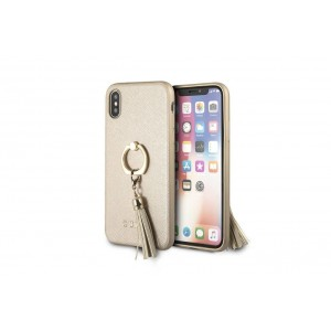 Guess Saffiano Hülle / Cover mit Ring für iPhone X / Xs Beige