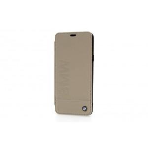 BMW Signature Logo Echtes Leder Tasche / Book Cover Samsung Galaxy S9 Plus Taupe