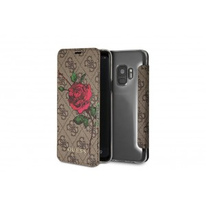 Guess Flower Desire Tasche / Book Cover Samsung Galaxy S9 Braun