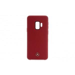 Mercedes Benz Silikon Fiber Hülle / Cover für Samsung Galaxy S9 Rot