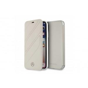 Mercedes Benz Organic II Leder Book Cover / Tasche für iPhone X / Xs Grau
