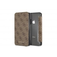 Guess Charms Tasche / Book Case 4G für iPhone XR Braun
