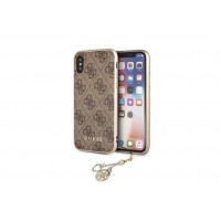 Guess Charms 4G Hülle / Hardcover für iPhone X / Xs Braun