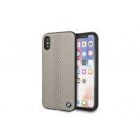 BMW Perforated Echtes Leder Hülle / Cover iPhone X / Xs Taupe