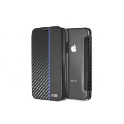 BMW M-Collection Carbon Book Cover / Tasche für iPhone XR Schwarz / Blau