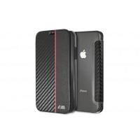 BMW M-Collection Carbon Book Cover / Tasche für iPhone XR Schwarz / Rot