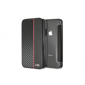 BMW M-Collection Carbon Book Cover / Tasche für iPhone XR Schwarz / Rot
