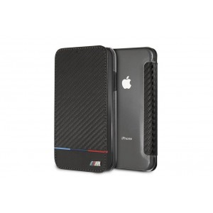 BMW M Bi-Material Carbon Tasche Tricolor Stripe für iPhone Xs Max Schwarz