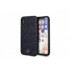 Mercedes Benz Crystal Echtleder Hard Case für iPhone X / Xs Navy