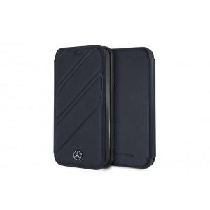 Mercedes Benz Organic II Echtleder Tasche / Book Cover iPhone XR Navy