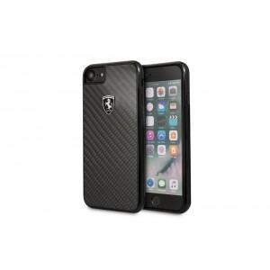 Ferrari Carbon Hülle / Case für iPhone 8 / 7 Schwarz