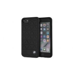 BMW Embossed Hexagon Echtleder Cover für iPhone 8 / 7 schwarz