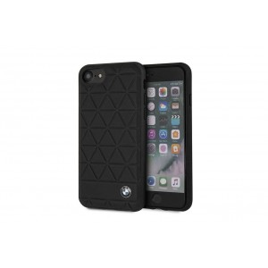 BMW Embossed Hexagon Echtleder Cover für iPhone 8 / 7 schwarz