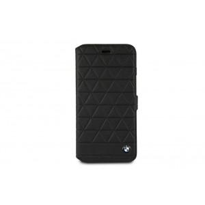 BMW Embossed Hexagon Echtleder Tasche für iPhone 8 Plus / 7 Plus Schwarz