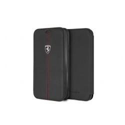 Ferrari Vertical Stripe Echtleder Tasche / Book Case iPhone XR Schwarz