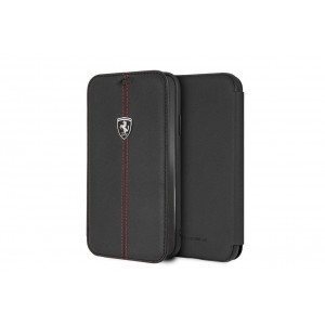 Ferrari Vertical Stripe Echtleder Tasche / Book Case iPhone XR Schwarz