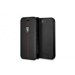Ferrari Vertical Stripe Echtleder Tasche / Book Case für iPhone 8 / 7 Schwarz