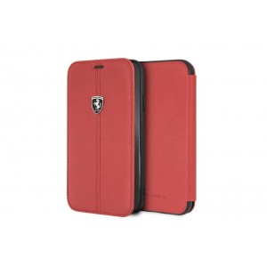 Ferrari Vertical Stripe Echtleder Tasche / Book Case iPhone X / Xs Rot