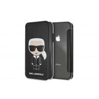 Karl Lagerfeld Tasche / Book Cover für iPhone XR Schwarz
