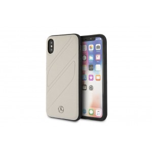 Mercedes Benz Organic II Echtleder Hard Case für iPhone X / Xs Grau