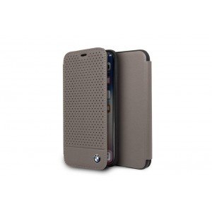 BMW Perforated Echtes Leder Tasche / Book Cover für iPhone X / Xs Braun