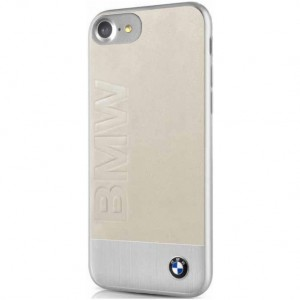 BMW Signature Logo Imprint Lederhülle / Alu  / Cover iPhone 8 / 7 Beige