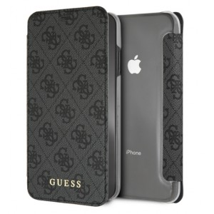 Guess Charms Tasche / Book Cover für iPhone XS Max Grau