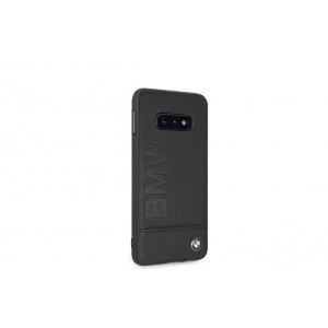BMW Logo Imprint Echtleder Cover / Schutzhülle für Samsung Galaxy S10e Schwarz