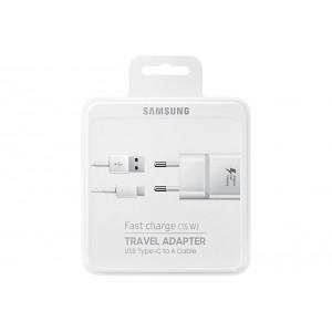 Original Samsung EP-TA20EWECGWW Schnell Ladegerät + Kabel USB auf USB Typ C Weiss