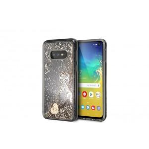 Guess Glitter Hearts Hard Case / Hülle für Samsung Galaxy S10e Transparent / Gold