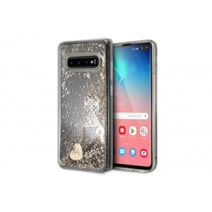 Guess Glitter Hearts Hard Case / Hülle für Samsung Galaxy S10+ Plus Transparent / Gold