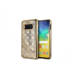 Guess Glitter 4G Peony Hard Case / Hülle für Samsung Galaxy S10e Transparent / Gold