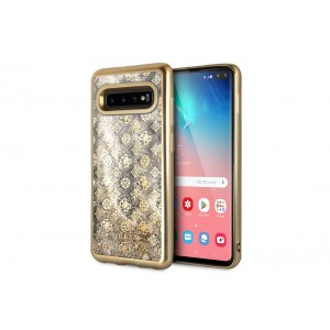 Guess Glitter 4G Peony Hard Case / Hülle für Samsung Galaxy S10 Transparent / Gold