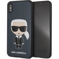 Karl Lagerfeld Iconic Silikon Cover / Hülle für iPhone Xs Max Blue
