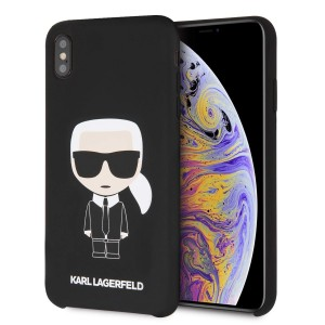 Karl Lagerfeld Iconic Silikon Cover / Hülle für iPhone Xs Max Schwarz