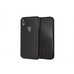 Ferrari Heritage Real Carbon Hülle / Hardcover für iPhone XR Schwarz