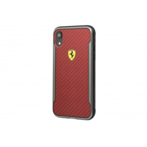 Ferrari On Track PU Rubber Carbon Hülle / Hardcover für iPhone XR Rot