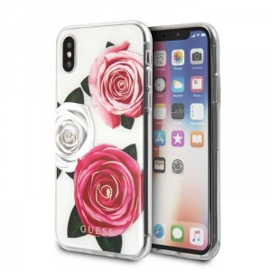 Guess Flower Desire Cover / Hülle für iPhone XR Transparent
