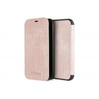 Guess Croco Tasche / Booktype Hülle für iPhone XR Pink