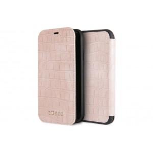 Guess Croco Tasche / Booktype Hülle für iPhone XS / X Pink