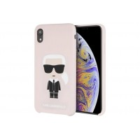 Karl Lagerfeld Silicone Hülle Karl Iconic iPhone Xr Rosa