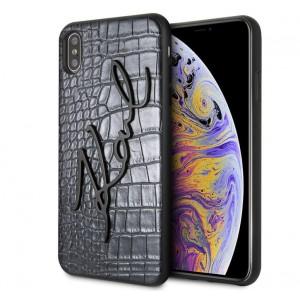 Karl Lagerfeld Karl Croco Metal Signature Hülle iPhone Xs Max Schwarz