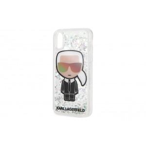 Karl Lagerfeld Karl Iconic Hülle Glitter iPhone XS / X Silber