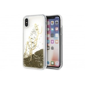 Karl Lagerfeld Karl Signature Hülle Glitter iPhone XS / X Gold